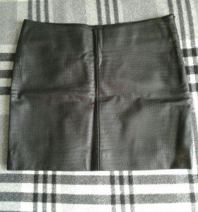 Кожаная мини юбка INCITY коллекция WHITE