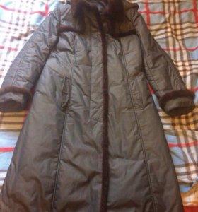 Пальто с отделкой из норки осеннее 46-48 р