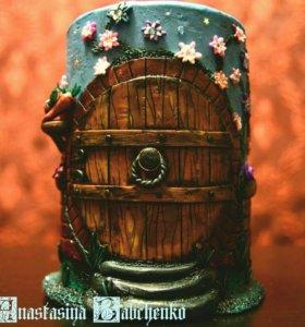 Баночка с декором из полимерной глины