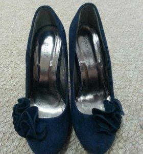 Туфли замш темно-синие