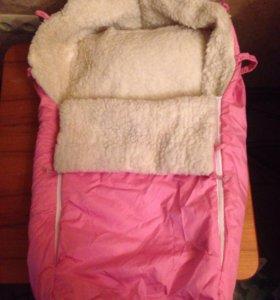 Конверт для новорождённого меховой.