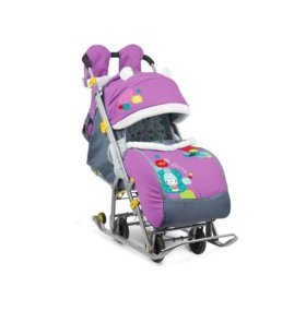 Санки-коляска Ника детям 7-2 Снеговик сиреневый