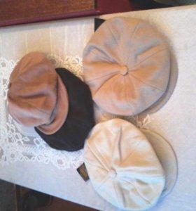Головные уборы, женские кепки беретки из кашемира