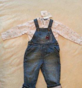 Новый джинсовый комбезик с рубашкой.