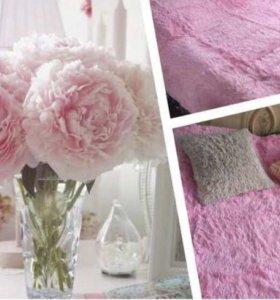Нежно розовый плед