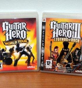 Продам контроллер для PS3 Guitar Hero и 2 диска