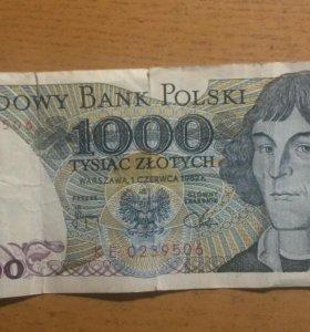 Польские деньги. 1000 злотых. 1982г.