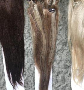 Натуральные волосы на заколках клипсах 50см