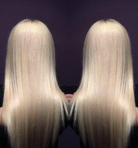 Кератиновое выпрямление, наращивание волос