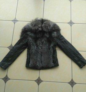 Куртка натуральная кожа и мех Чернобурка