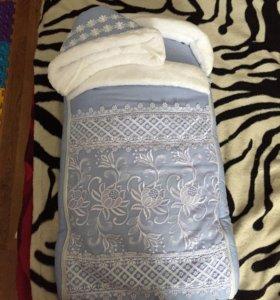 Набор на выписку:конверт,шапочка,одеяло