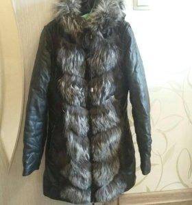 Куртка трансформер с мехом чернобурки