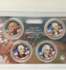 """Набор из 4 монет серии """" Президенты США"""" 2007 год"""