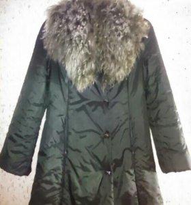 Плащ-пальто с воротником из козы
