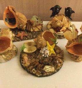 сувениры из ракушек ( 5 штук )