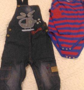 Комплект Полукомбинезон джинсовый с боди