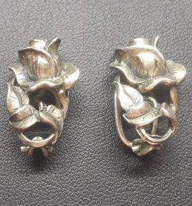 Серьги-клипсы серебро 925