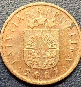 """Монеты Латвии, 2 сантима 2007 """"солнце"""""""