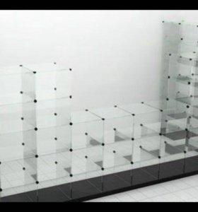 Стеклянные витрины кубики Б\У