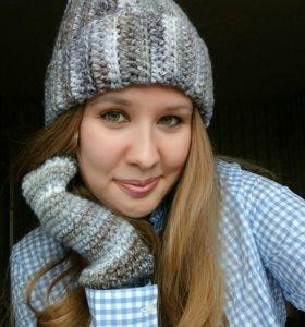 Зимний комплект: шапка+варежки.