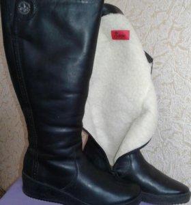 Сапоги женские кожаные зимние