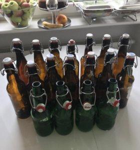 Стеклянные бутылки для вина пива. Стерильные.0.5л