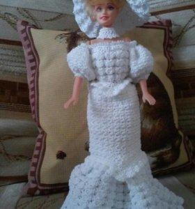 Вязаное платье для куклы барби(ручная работа)