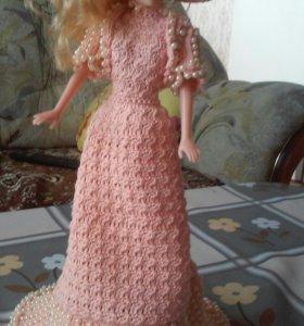 Вязаное платье на куклу барби(ручная работа)