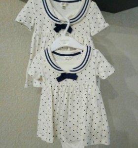 Платье - морячка боди, размер 68 и 74.