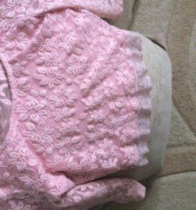 Кофта(розовая), топ кружевной (розовый)