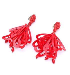 Красные Серьги , сережки клипсы из бисера