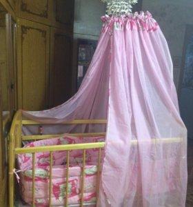 Детская кроватка-качалка+матрас+балдахин и боковин