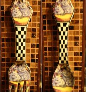 Настенное украшение для кухни ( вилка-ложка)