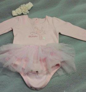 Боди платье лонгслив балерина 9 - 12 месяцев
