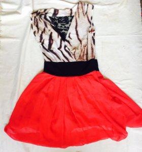 Платье яркое шифоновое
