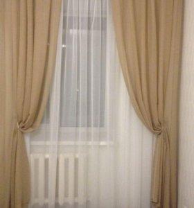 Комплект штор с тюлем. Имитация льна. Бежевый