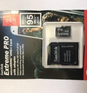 Флэш карта Micro SD SanDisk 2GB + адаптер