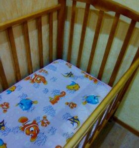 Кроватка детская(качалка)с ортопедическим матрасом