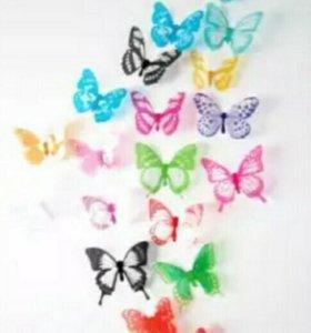 """Интерьерные 3D наклейки """"Бабочки."""