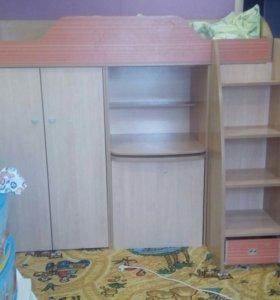 Детская кровать/горка со шкафами