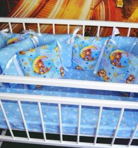 Бортики в кроватку на заказ и комплекты п/белья