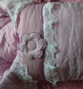 Конверт на овчине+одеяло с кружевом
