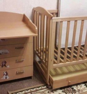 Детская кровать (Лель)+ комод(пеленальник)