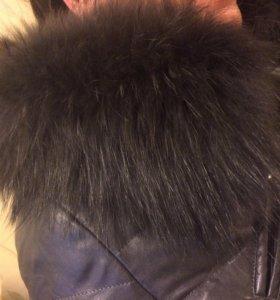 Пуховик зимний из эко кожи