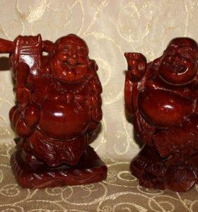 "Фигурки Хотей («Смеющийся Будда"")-красное дерево"