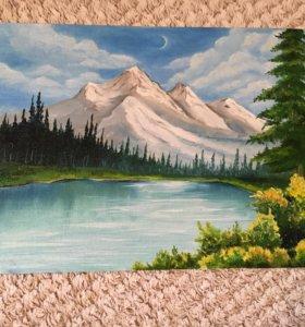 Картина масло горы