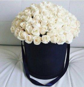 Розы,цветы 🌺 в шляпной коробке,''MixFlowers''