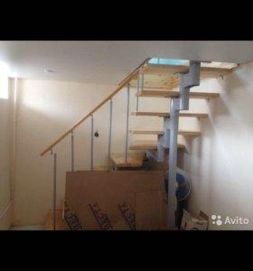 Лестница деревянно-металлическая