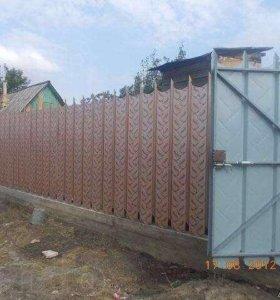 Забор с пиками из профнастила с21