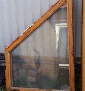 Окна деревянные б/у, целые, со стеклом